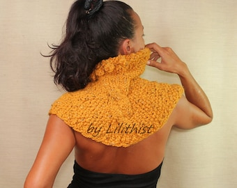 Yellow Wool Cape Poncho, Sweater Cape, Cable Knit, Cape Shrug, Knit Shrug Shawl, Saffron, Mustard  Cowl, Winter Knit Wear Gift For Women