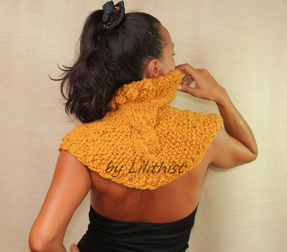 Yellow Wool Cape Poncho, Sweater Cape, Cable Knit, Cape Shrug, Knit Shrug Shawl, Rustic Saffron Mustard  Cowl, Winter Fashion Gift For Women