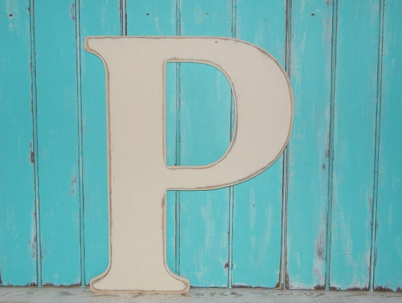 Large wooden letter p or any letter distressed 235 inch wood for Large wooden letter p