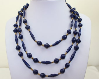 Blue Paper Beads Necklace Paper Mache Extra Long Lariat. Papier Mache Beads Ethnic Style. Paper Beads. Paper Marche PS004. MapenziGems