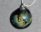 Blown Universe Pendant, Night Sky Boro Glass Necklace, Twisted Galaxy Sky Silver Necklace Lampwork Focal Bead SRA
