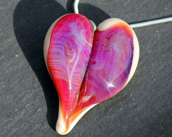 Purple Heart Necklace, Blown Glass Pendant, Lampwork Focal Bead