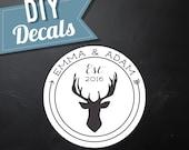 DIY | Deer Monogram | Die-Cut Decals | For Wedding/Party Cornhole
