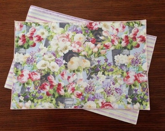 Spring Place Mats, Breath of Spring, Soft, Delicate Colors, Fresh Flowers Everywhere, Set of 4 Place Mats