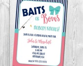 Baits or Bows Gender Reveal Invitation, Gender Reveal Party