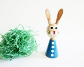 Single German Vintage Easter Erzgebirge Blue Wood Retro Bunny with Dots, made in the DDR Ergebirge in the 70s