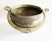Primitive German Vintage Rustic Brass Pot, Flower Vase or Flower Planter with Brass Handle Rustic Folk Art Home Decor