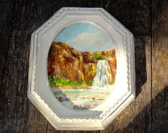 Frame, Small Painting, Octagon Frame, Oval Frame, 5 x 6 Frame, Outdoor Scene, Cabin Art, Landscape, Painting, White Frame, Vintage Art