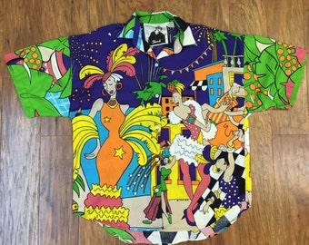 Amazing 1986/1987 Trendi signed Mardi Gras theme button down