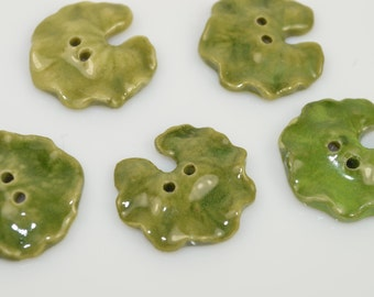 Beautiful Leaf / Lily Pad  Handcrafted and Painted Ceramic Glazed Buttons