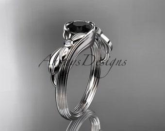 Unique platinum diamond floral  engagement ring with black diamond center stone, ADLR324