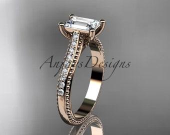 """14kt rose gold diamond unique engagement ring, wedding ring with a """"Forever One"""" Moissanite center stone ADER113"""