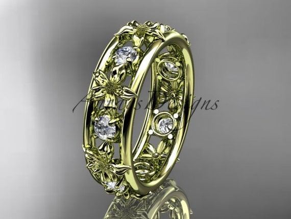 14kt yellow gold diamond leaf  wedding ring,engagement ring, wedding band. ADLR160 nature inspired jewelry