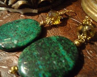Bohemian Green In Amber Drop Earrings