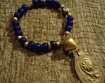 Boho Gypsy Inspired Midnight Blue and Gold Nugget Empire Bracelet with Antique Gold Tone Pendant