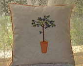 Pillow - Tuscan Cushion Cover - home decor - 47x47cm lovely upholstery cotton linen material on the front and olive  linen cotton on back.