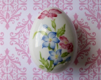 Limoges Porcelain Egg Trinket Box Rochard France Flowers Small Easter Pink Blue Green Collectible