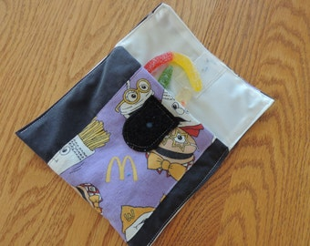 snack bag with mcdonald's fabric  reusable ecofriendly