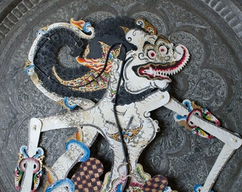 Vintage Large Indonesian Wayang Kulit Hand Painted Shadow Puppet w/ Articulated Limbs