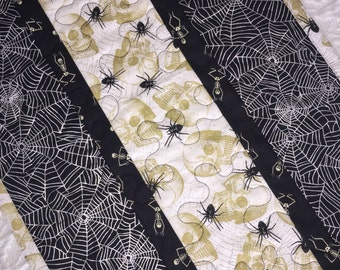 Halloween Table Runner Quilt, Spiders, Spider Web,  Ghosts, Skulls Table Topper Quilt, Black, Silver, White, Quiltsy Handmade