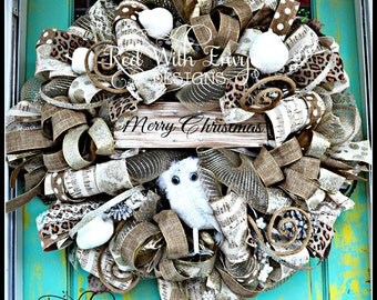 Shabby Chic Christmas Wreath, Country Wreath, Christmas Wreath