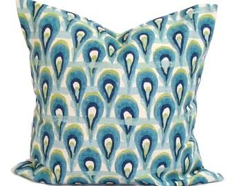 BLUE PILLOW.20x20 Inch.Pillow Cover.Decorative Pillows.Blue Throw Pillow Cover.Blue Green Pillow.Ikat.Green.Blue.Cm.Blue Pillow.Cushion