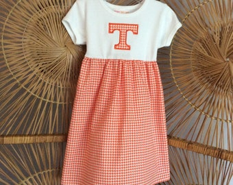 TENNESSEE DRESS.. Orange houndstooth with appliqued power T...available in long sleeves, short sleeves and tank
