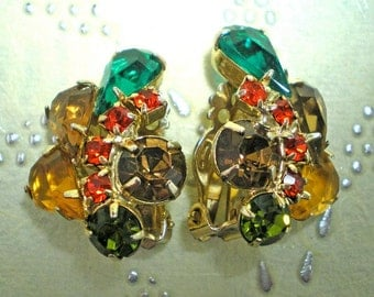 D&E aka Juliana Vintage Green,Topaz, Orange Clip Earrings   Item 15529