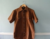ON SALE Men's Vintage Western Shirt / Chocolate Brown Short Sleeve Cowboy Shirt / Size 8 Small to Medium