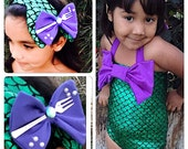 CHARLOTTE-  Girls Little Mermaid Bikini Suit Swimmable/ Swimming Costume/ little metmaid swimsuit