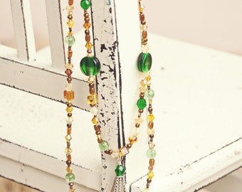 Amber Necklace, Beaded Necklace, Amber and Green Necklace, Glass Bead Necklace