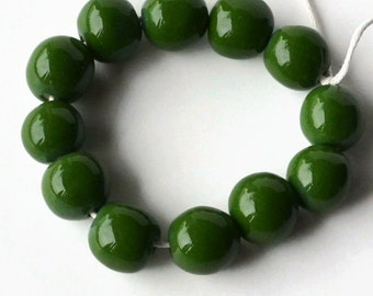 Beads from South Africa, African beads, handmade beads, ceramic beads, pottery beads, shiny dark green beads,  beads, glazed beads