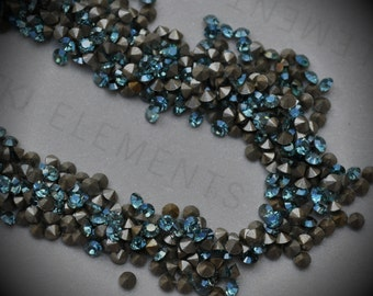 Xilion 1028 14pp Genuine Swarovski Crystals Aquamarine Champagne Coated Rounds Foiled Rhinestones 144pcs 1 Gross