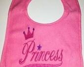 Embroidered Baby Gifts - Baby Bibs Handmade -  Baby Princess Gift - Girl Bibs  - Unique Baby Bibs - Terry Cloth Bib - Princess Baby Bib -