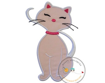 Soft pink cat embroidered fabric iron on applique- Ready to ship-Premade-DIY