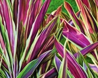 Large Tropical Art, Colorful Tropical Leaves, Hawaiian plants, Pink Magenta Green Leaves, Modern Tropical Decor, Ready to Hang Canvas