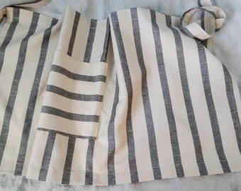 Beige and black striped prewashed linen and cotton half apron. Soft cafe apron.
