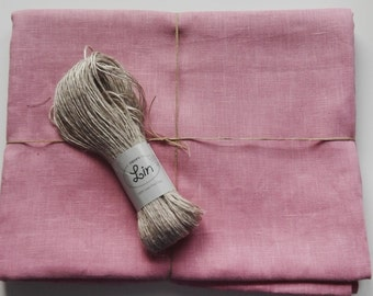 Dusty pink linen bed sheet. European linen.