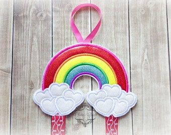 Rainbow bow holder Heart Cloud Bow Holder for Hair Clips or Pins Clippie Keeper