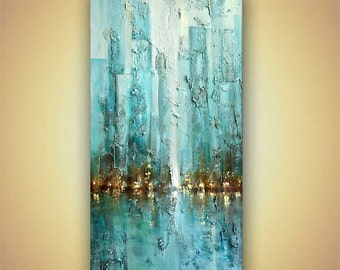 "ORIGINAL modern Blue Abstract City Painting Heavy Texture Modern Acrylic Skyscrapers Painting by Osnat 72"" x 36"""
