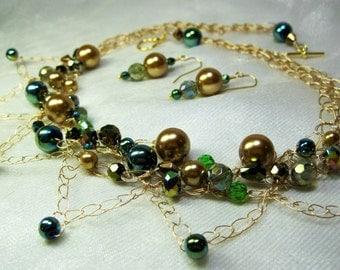 Gold and Green Beaded Necklace Set, wire crochet bead jewelry, handmade beaded crocheted necklace
