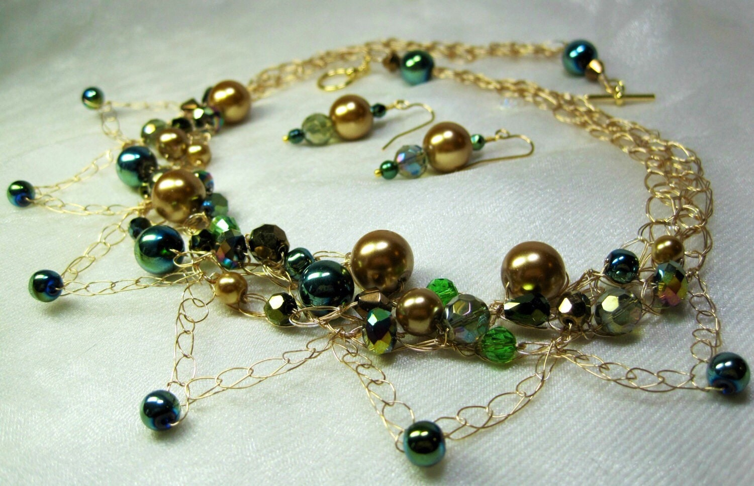 gold and green beaded necklace set wire crochet bead by