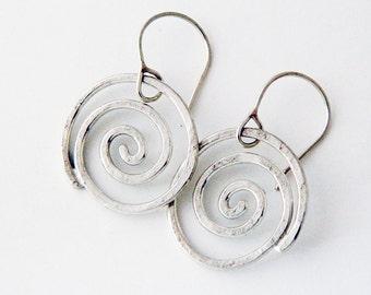 Spiral jewelry, silver jewelry- silver earrings, large spiral earrings, swirls