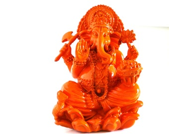 ganesh statue, boho decor, ganesha, zen figurines, hindu statue, orange decor, asian inspired