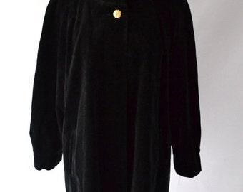 ON SALE Black Velvet Swing Coat Jacket Size Large