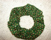 Tiny Red Rose Buds Green Floral Fabric Handmade Hair Scrunchie, woman's scrunchies, garden flowers, spring floral accessory, gifts for her