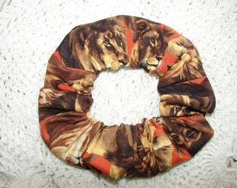 Lions all over Fabric Handmade Hair Scrunchie, feline wild animals, women's accessories, womans scrunchies, gifts for her, trending ideas