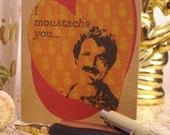 Tom Selleck/Magnum PI Valentine- Pop Icon Cards, Funny Valentines, 80's Icons, Moustache, Manly Valentine, Quirky Cards
