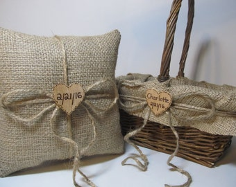 Rustic Burlap Flower Girl Basket and Ring Bearer Pillow - Personalized For Your Country Woodland Wedding Day