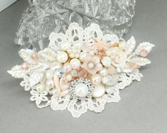 Blush Hair Comb- Wedding Hair Piece- Vintage Inspired Hair Comb- Blush hairpiece- Blush Hair clip- Pink Bridal comb- Bridal Hair Accessories